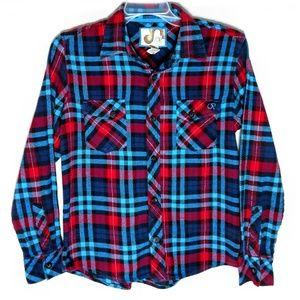 Op Mens Blue Red Button Plaid Shirt Large L